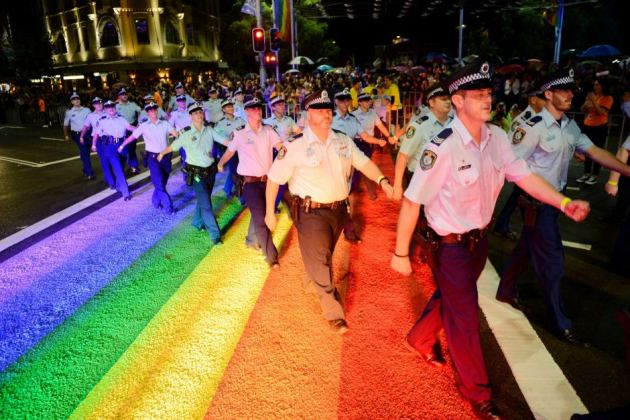 Sydney-Police-Guards-Walking-On-Rainbow-Raod-During-Mardi-Gras-Parade